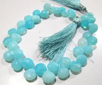 Natural Peruvian Blue Opal Heart Shape 9-10mm Smooth Briolette Beads Strand 8 Inches