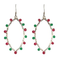 Natural Stone Onyx and Pink Tourmaline Semi-Precious Earring