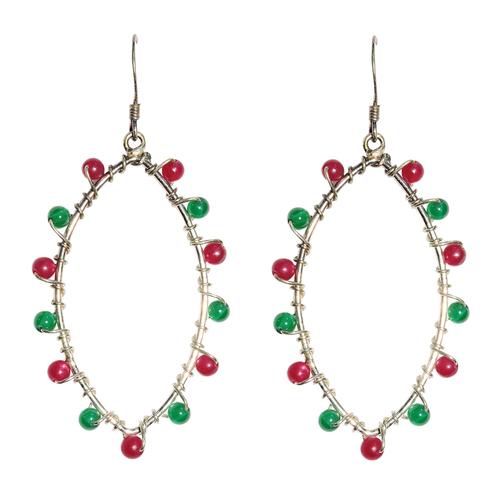 Natural Stone Onyx and Pink Tourmaline Semi-Precious Earring
