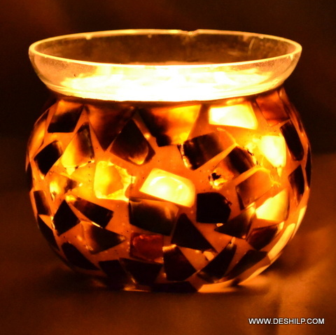 Seap Glass Candle Holder Handmade Votive