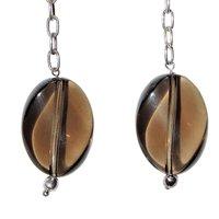 Natural Stone Smokey Quartz Semi-Precious Earrings