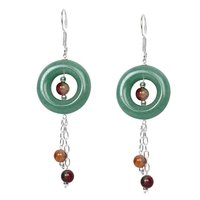Natural Stone Jade and Bloodstone Semi-Precious Earrings