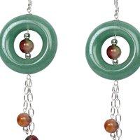 Natural Stone Jade and Bloodstone Semi-Precious Earrings