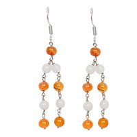 Natural Stone Carnelian and Moonstone Semi-Precious Earrings