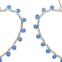 Natural Stone Blue Quartz Semi-Precious Heart Earrings