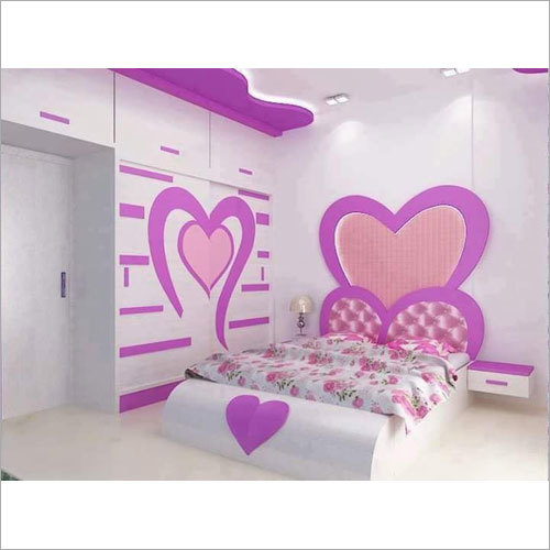 Pink Color Wooden Bed