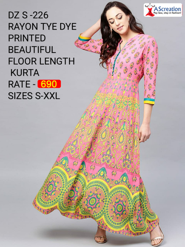 Rayon Tye Dye Printed Beautiful Floor Length Designer Kurtis