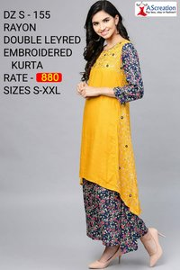 Rayon Double Leyred Embroidered Designer Kurti