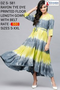 Rayon Tye Dye Printed Floor Length Designer Gown With Belt