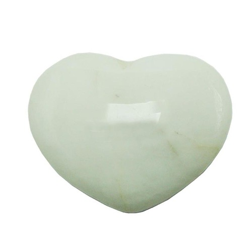 Satyamani Natural White Agate Gemstone Heart Puff