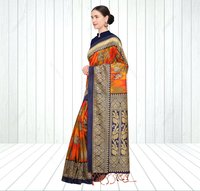 Fancy Animal Printed Mysore Silk Saree