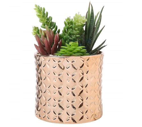 5 Inch Ceramic Canister Planter with Metallic Copper