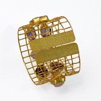Indian Handmade Yellow Gold Plated Multi Gemstone Cuff Bangle