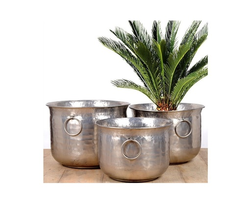 Plain Classic Nickel Planter Set of 3