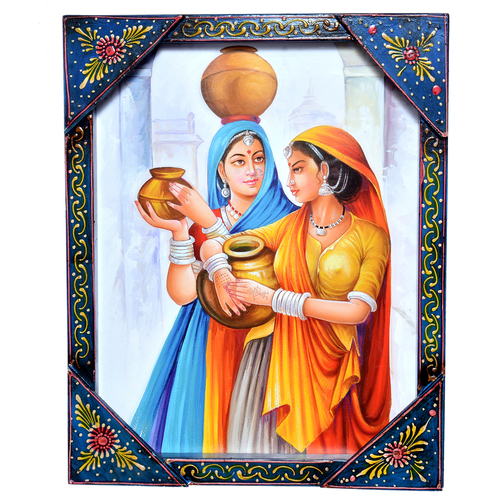 Indian Rajasthani Women Painting Wooden Handicraft Wall Hanging Home Decor Painting