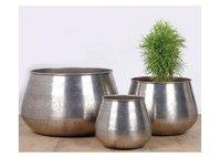 Plain Classic Nickel Planter Set of 3