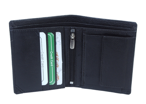 Notecase Black Leather Wallet with Zip