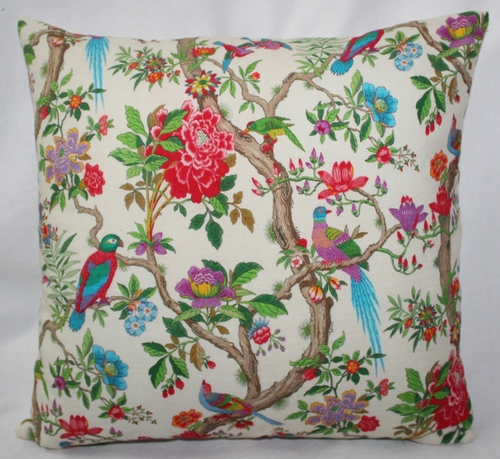 Multicolor Birds Print Cushion Cover