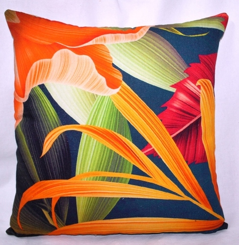 Multicolor Leaves Printed Cushion Cover