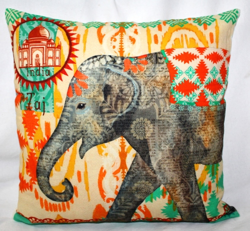 Elephant Printed Cushion Cover