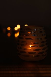 Oval dotted gray white votive