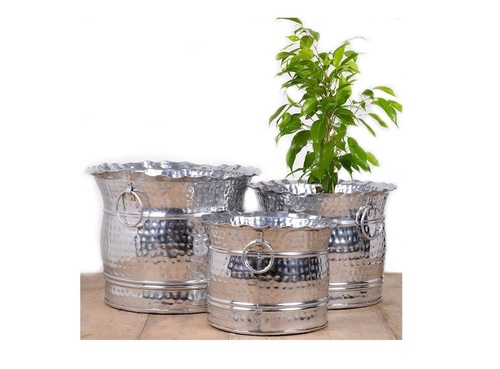 Silver Hammered Planter Set of 3