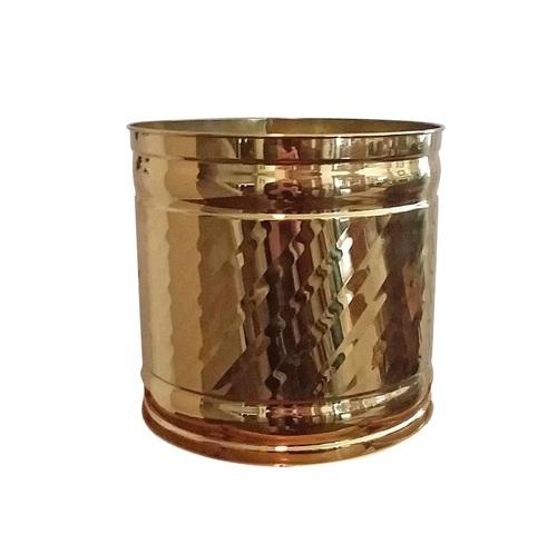 Bristol Round Swirl Brass Planter