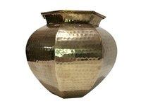 Large Vintage Hammered Brass Planter or Vase