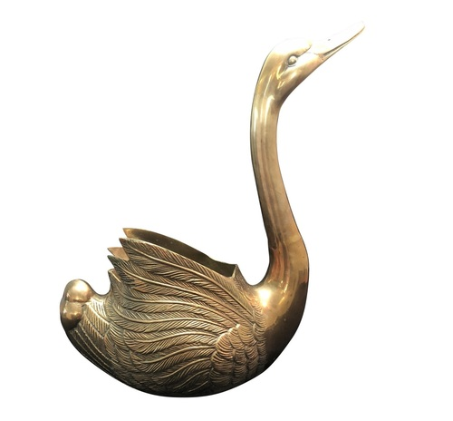 Vintage Large Brass Swan Planter