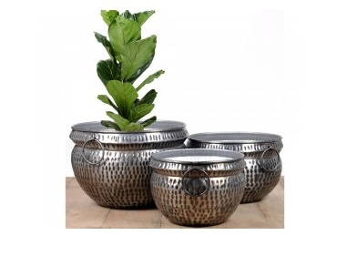 Black Nickel Antique Hammered Planter Set of 3
