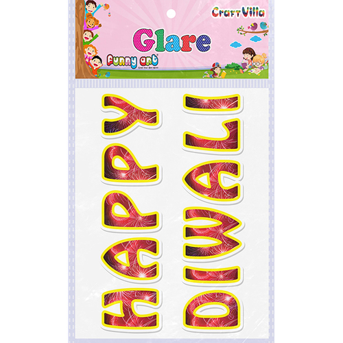 Craft Villa Glare Happy Diwali Printed Sticker