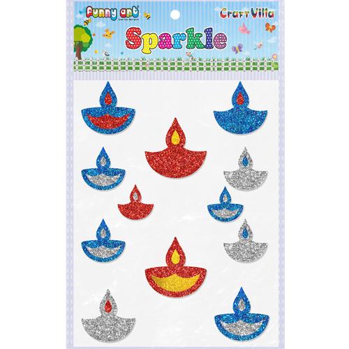 Craft Villa Sparkle Diya 01 Glitter Sticker