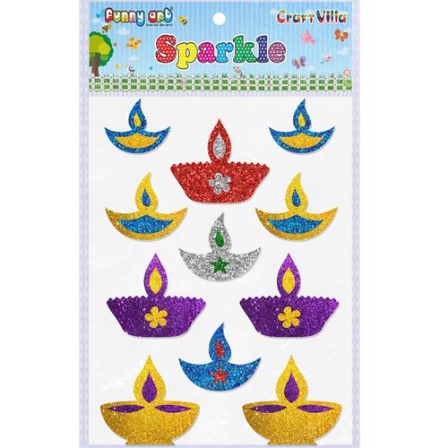 Craft Villa Sparkle Diwali Diya 02 Glitter Sticker