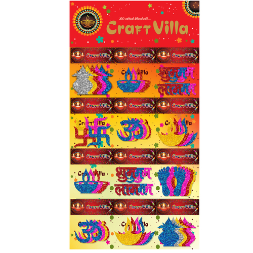 Craft Villa A3 Diwali Card Glitter Foam Sticker