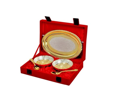 Plated Brass Bowl & Tray Set of 5 Pcs