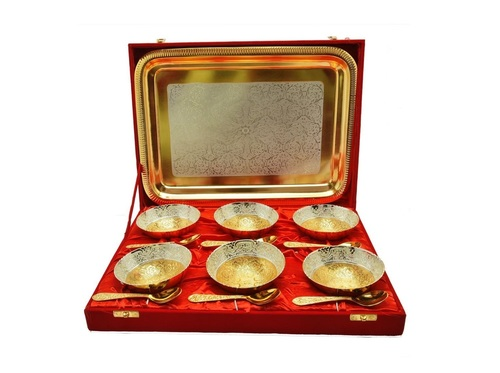 Royal Wedding Gift Plated Brass Bowl & Tray Set of 13 Pcs