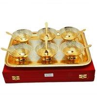 Royal Wedding Gift Plated Brass Bowl & Tray Set of 13 Pcs