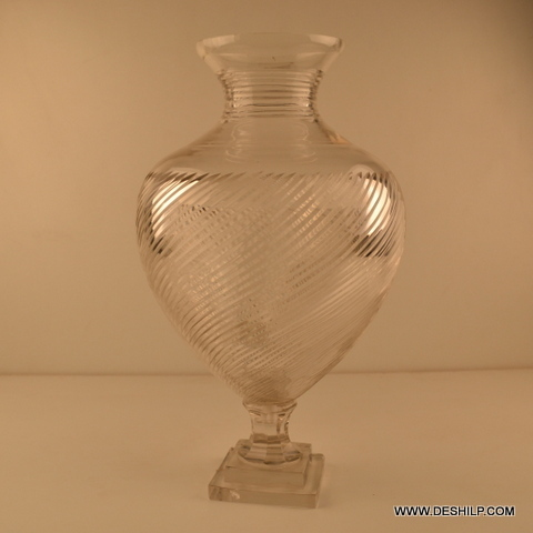 BIG GLASS CRYSTAL FLOWER VASE