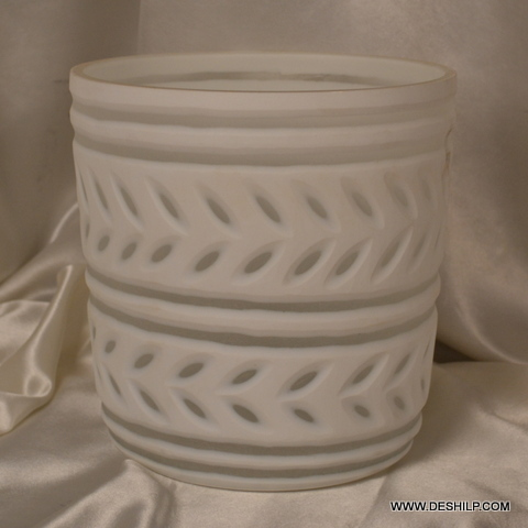 WHITE GLASS  DECOR CANDLE HOLDER
