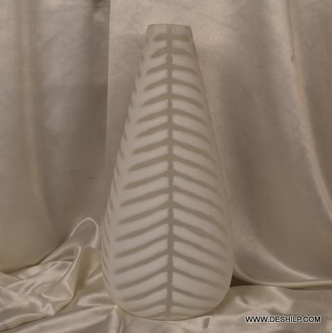 WHITE GLASS LONG FLOWER VASE
