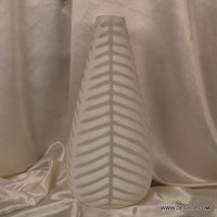 WHITE GLASS LONG FLOWER VASE