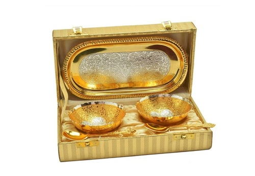 Wedding Anniversary Brass Decorative Platter Gold Pack of 5