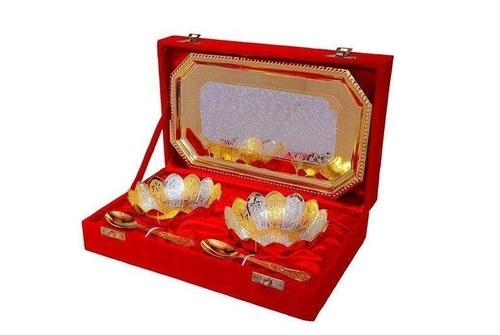 Floral Pattern Gold Silver Plated Brass Bowl Set