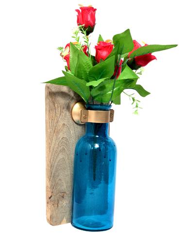 Indian Home Decorative Wooden Wall Panel Flower Glass Bottle Pot