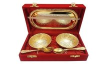 Gold Plated Bowl Tray & Spoons Set In Red Velvet Gift Box
