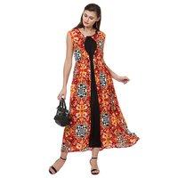 Modern print long maxi dress