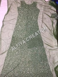 Heavy beaded pearl and sequins work fabric
