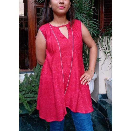 Rani Pink Double Layer short kurti
