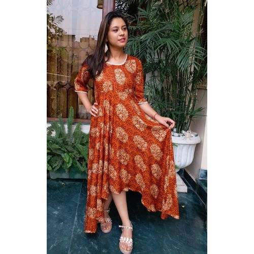Designer high-low rust dress