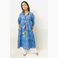 Denim Ikat cotton kurti